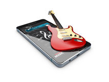 Guitar Lessons online. Musical app. 3d illustration. Guitar Lessons online. Musical app, 3d illustration Royalty Free Stock Image
