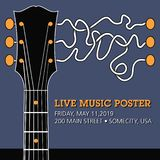 Guitar live music template with funky squiggles royalty free stock image