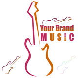 Guitar - logo, logotype. Royalty Free Stock Photography