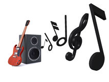 Guitar & Loud Speaker Royalty Free Stock Photos