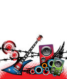 Guitar and loudspeakers. Abstract colorful illustration with electric guitar, grunge circles and colored loudspeakers Stock Photo