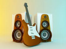 Guitar and louspeakers Royalty Free Stock Photo