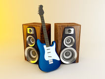 Guitar and louspeakers Stock Images