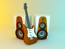 Guitar and louspeakers Royalty Free Stock Photos