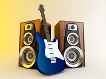 Guitar and louspeakers Stock Image