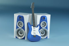 Guitar and louspeakers on blue background Stock Photography
