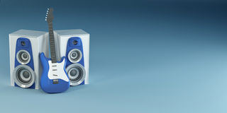 Guitar and louspeakers on blue background Royalty Free Stock Photography