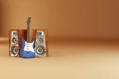 Guitar and louspeakers on yellow background Stock Photos