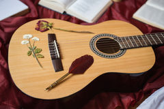 Guitar lying on red fabric, dried flowers, books on a red background. Scattered books, fountain pen, art atmosphere Royalty Free Stock Photography