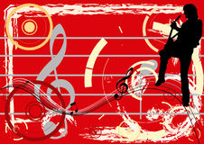 Guitar Madness. Guitar player over a music background stock illustration