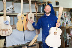 Guitar-maker at workshop Royalty Free Stock Photography