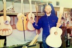Guitar-maker at workshop Royalty Free Stock Images