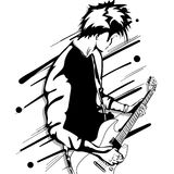 Guitar man play music graphic object Royalty Free Stock Photography