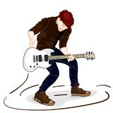 Guitar man play music graphic object. Guitar man play music graphic Royalty Free Stock Photos