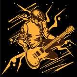 Guitar man play music graphic object. Guitar man play music graphic Stock Photography