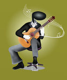 Guitar Man playing Guitar with Musical Notes and S. Guitar Man playing a Classical guitar with Musical Notes and Sound Waves Stock Photo