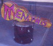 A Guitar with Memphis on it in a shop window Royalty Free Stock Images