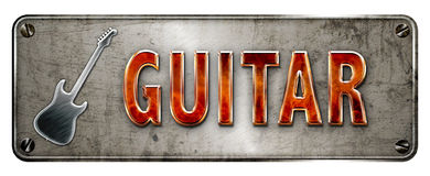 Guitar metal and fire banner. Fire glowing 3D-ish chrome/metallic 'Guitar' text on a realistic banner or metal plate image Stock Images