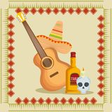 Guitar with mexican hat and tequila to event. Vector illustration vector illustration
