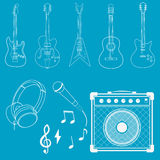 Guitar, microphone and amplifier Stock Photos