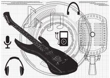 Guitar, microphone headphones royalty free illustration