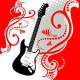 Guitar And Music Background. A red, white and black illustration with a guitar. Layout design for a music concert flier vector illustration