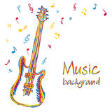 Guitar music background with notes. Illustration of guitar music background, doodle style Stock Images