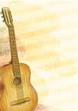 Guitar on music background. Watercolor style. Stock Image