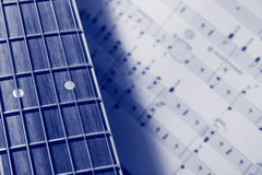 Guitar and Music (Blue) Stock Image
