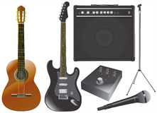 Guitar and music equipments vector Royalty Free Stock Photos