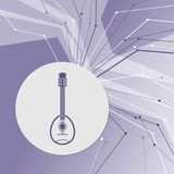 Guitar, music instrument icon on purple abstract modern background. The lines in all directions. With room for your advertising. Stock Images