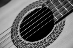 Guitar music instrument macro drammatic picture Stock Photos