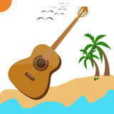 Guitar music musical acoustic summer poster. Guita rmusic acoustic summer poster vector design Royalty Free Stock Photography
