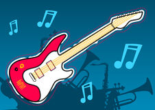 Guitar music with musical instrument silhouettes Stock Images