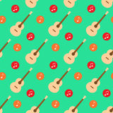 Guitar music note flat design pattern vector Royalty Free Stock Images