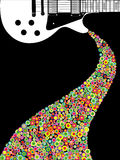 Guitar Music Poster. A poster design or a electric guitar and bright circles. Room for text and copy vector illustration