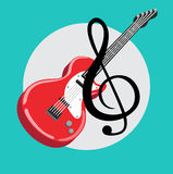 Guitar with music sign flat design vector Stock Photo
