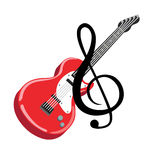 Guitar with music sign flat design vector Royalty Free Stock Image