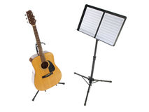 Guitar and Music Stand. Acoustic guitar and music stand with blank sheet paper Royalty Free Stock Photo