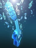 Acoustic guitar and music. Guitar and music theme background Stock Images