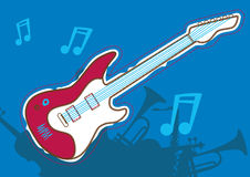 Guitar music. Vector illustration of a guitar and music Royalty Free Stock Photos