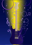 Guitar on musical background. Illustration with guitar and music background Royalty Free Stock Photography