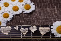 Guitar and musical heart Stock Photo