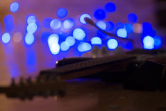 Guitar. Musical instrument guitar on the flor with light behind Stock Photography