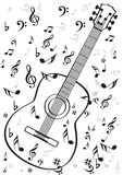 Guitar musical instrument. Vector in black outline Royalty Free Stock Images