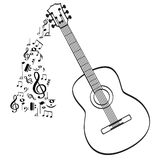 Guitar musical instrument. Vector in black outline Stock Photo