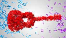 Guitar Musical Note Particles 3D Royalty Free Stock Image