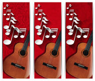 Guitar and Musical Notes - Three Banners Royalty Free Stock Image