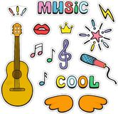 Guitar, musical signs and symbols. Set of color cute vector doo dle stickers. royalty free illustration