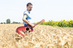 Guitar on the nature Stock Images